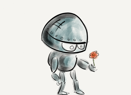Roboter with flower