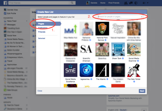 How to add pages to Facebook interest lists