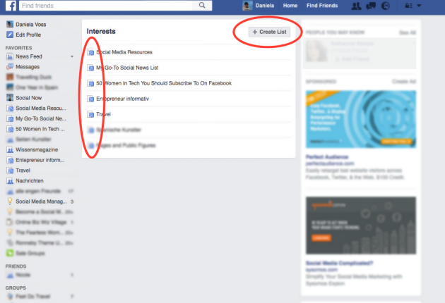 How to create a new or edit an existing Interest list in Facebook