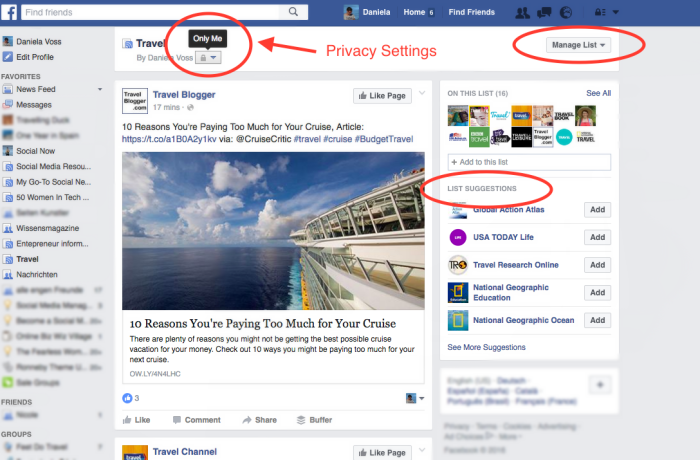 How to change Privacy Settings for FB interest lists